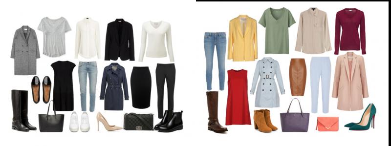 Пример базовых гардеробов: черно-белый и цветной