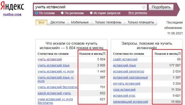 подбор ключевых слов в Яндексе
